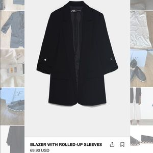 Zara Blazer Rolled-up sleeves XS in black